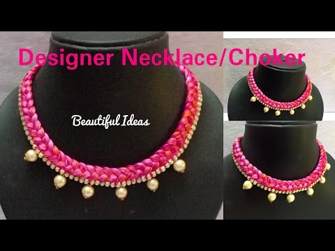How to Make Silk thread Designer Necklace // Choker at Home...Tutorial..