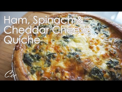 Easy Ham, Spinach & Cheddar Cheese Quiche