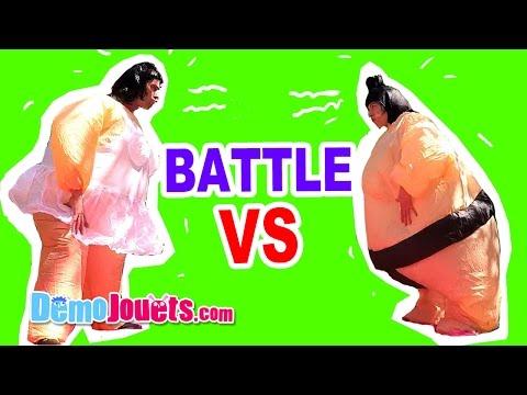 BATTLE Ballerine VS Sumo - On s'affronte avec nos déguisements XL - Démo jouets