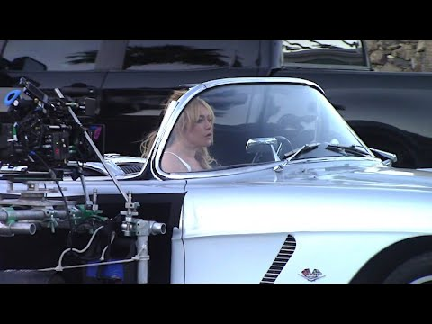 Florence Pugh Behind The Wheel Of 1962 C1 Chevrolet Corvette While Filming 'Don't Worry Darling'