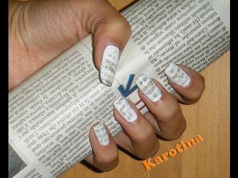nail art con stampa di giornale