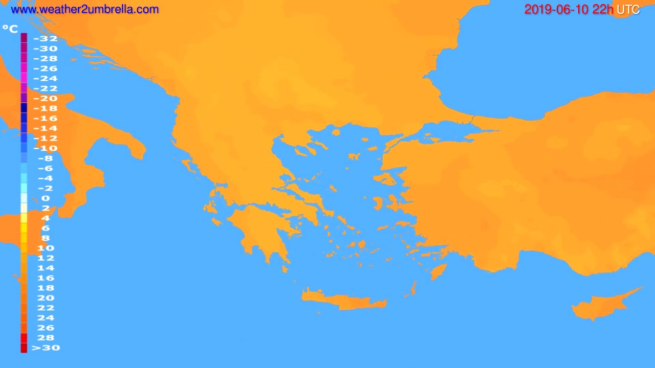 Temperature forecast Greece // modelrun: 12h UTC 2019-06-08