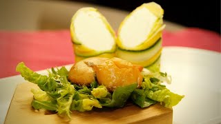 Geräucherte Jakobsmuschel | Salat mit Ziegenfrischkäsepraline | Zucchini an Kardamon-Honig