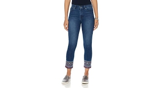 DG2 by Diane Gilman Boho EmbroideredHem Cropped Skinny