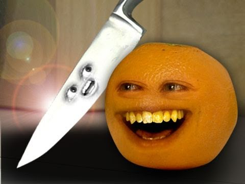 No - Orange has a face to face confrontation with...KNIFE! FREE version of my video game Kitchen Carnage is out!!! iTunes: http://bit.ly/AOKitchenCarnageLite Andr...