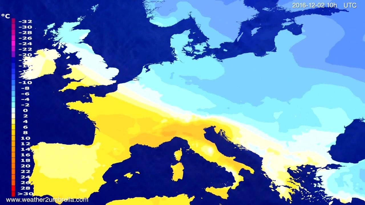 Temperature forecast Europe 2016-11-30