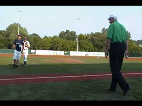 Mike Kelly throws out 1st Pitch at Butler BlueSox vs. Slippery Rocky Sliders game