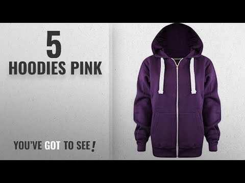Top 10 Hoodies Pink [2018]: New Ladies Womens PLUS SIZE ALL COLOUR Plain Zipped Hoodies UK SIZE 8-28