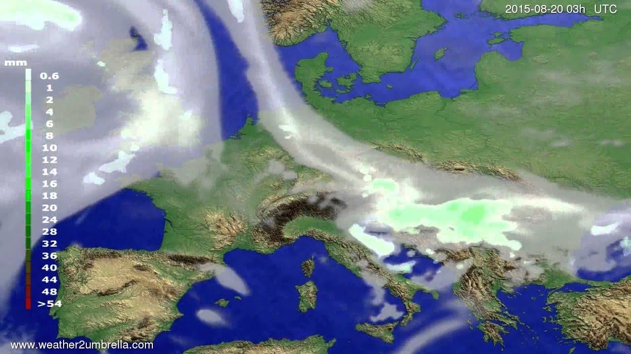Precipitation forecast Europe 2015-08-16