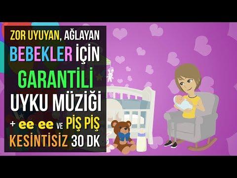 ♫ Zor Uyuyan, Ağlayan Bebekler İçin Garantili Uyku Müziği + ee ee ve Piş Piş ★ 30 DK Ninni ★