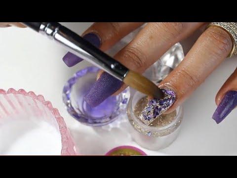 Uñas acrilicas - uñas acrílicas moradas echas completamente con maquillaje y madre perla encapsulada paso a paso