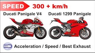 8. 2018 Ducati PANIGALE V4 vs Ducati 1299S Panigale / Acceleration, Top Speed 300+ km/h, Ride, Exhaust
