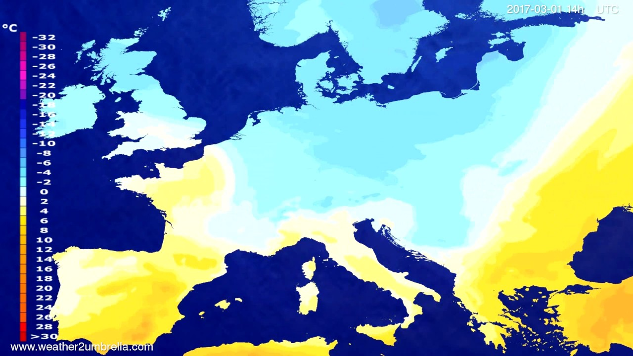 Temperature forecast Europe 2017-02-25