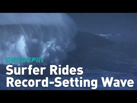 Surffaaja tekee ennätyksen valtavassa aallossa