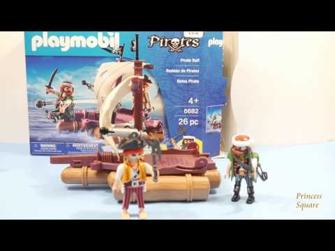 PLAYMOBIL PIRATE - radeau pirate + 2 personnages + 2 canons - neuf - 6682