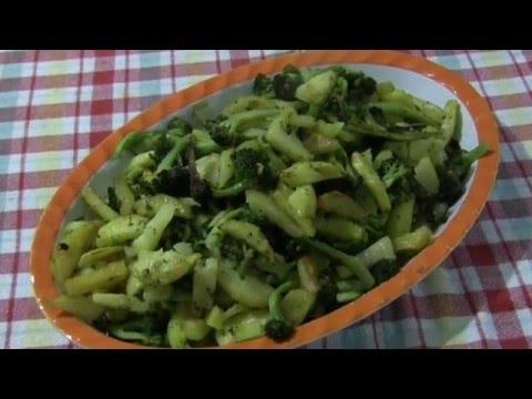 broccoletti siciliani e patate fritte - contorno calabrese