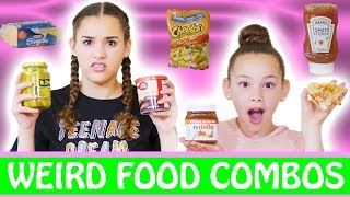 Hi Guys! This week, Gracie and Olivia try a variety of SUPER weird food combinations.  Some of these were actually not that bad, but some of them were disgusting!  Which ones would YOU be willing to try?  Let us know in the comments below!New to our channel? Our names are Madison (17), Gracie (15), Sierra (13) and Olivia (11) and together we are the Haschak Sisters! We have been dancing all of our lives and LOVE music! We just started this YouTube channel and hope you'll join us on our journey! We love meeting new friends!Like our videos? We would LOVE to connect with you online and let you know when we upload future videos on our channel! If you like THIS video and want to help spread the word, it's easy! Simply LIKE, FAVORITE, COMMENT and SHARE this video with YOUR friends on Facebook, Twitter & Instagram! That really helps a lot! We love you!! xoxoOFFICIAL HASCHAK SISTERS LINKSHaschak Sisters Gear Storehttp://Shop.HaschakSisters.comYouTubehttp://YouTube.com/HaschakSistersFacebookhttp://Facebook.com/HaschakSistersTwitterhttp://Twitter.com/HaschakSistersInstagramhttp://Instagram.com/HaschakSisters