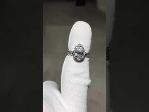 Pear Shaped Halo Bridal Set