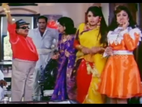 Alluda Majaka Movie Scenes - Allu Ramalingayya comes to marry Ramya Krishna & Ramba - Chiranjeevi