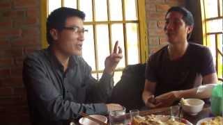 Two Vietnamese guys learns Kalaallisut in H'Mong village Tá Phín.