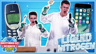 We put 3 different phones in liquid nitrogen, what do you think will happen? #BrothersDoScience► Subscribe To See More :) - http://bit.ly/OliWhiteTVLeave a comment below what you think we should freeze next!Welcome to our brand new series called Brothers Do Science: In The Lab. Each week we will be experimenting with Liquid Nitrogen and freezing different objects. The question is will they survive the smash zone??We will also be freezing a viewer suggested item each week so let us know what you want us to freeze using the hashtag #BrothersFreezeThis.I really hope you guys like the new series :)Big thanks to Westminster Uni!https://www.westminster.ac.uk/MY INSTAGRAM: @OliWhiteTVMY TWITTER: @OliWhiteTVMY SNAPCHAT: OliWhite1MY FACEBOOK: fb.com/OliWhiteTVFOLLOW JAMES ON TWITTER: @JamesWhite_TVFOLLOW JAMES ON INSTAGRAM: @JamesWhite_TV► ORDER THE TAKEOVER NOW! - http://www.gen-next.co.uk▶︎ (UK) ORDER GENERATION NEXT - http://amzn.to/1QkOuMw▶︎ (USA) http://bit.ly/GenNextUSBook
