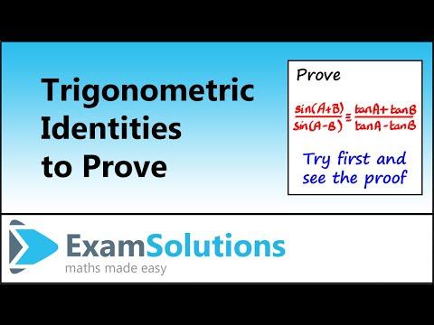Trigonometrische Identitäten Zusatz Formeln(1): Prüfungslösungen