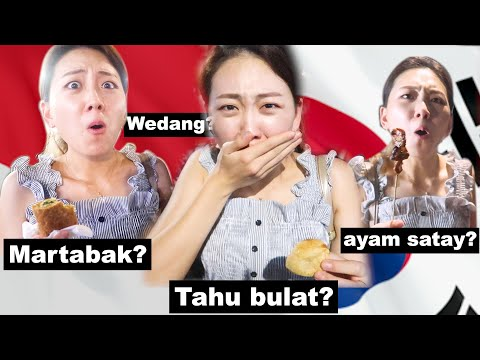 Korean Tries Indonesian Street Food & Luxury Food!