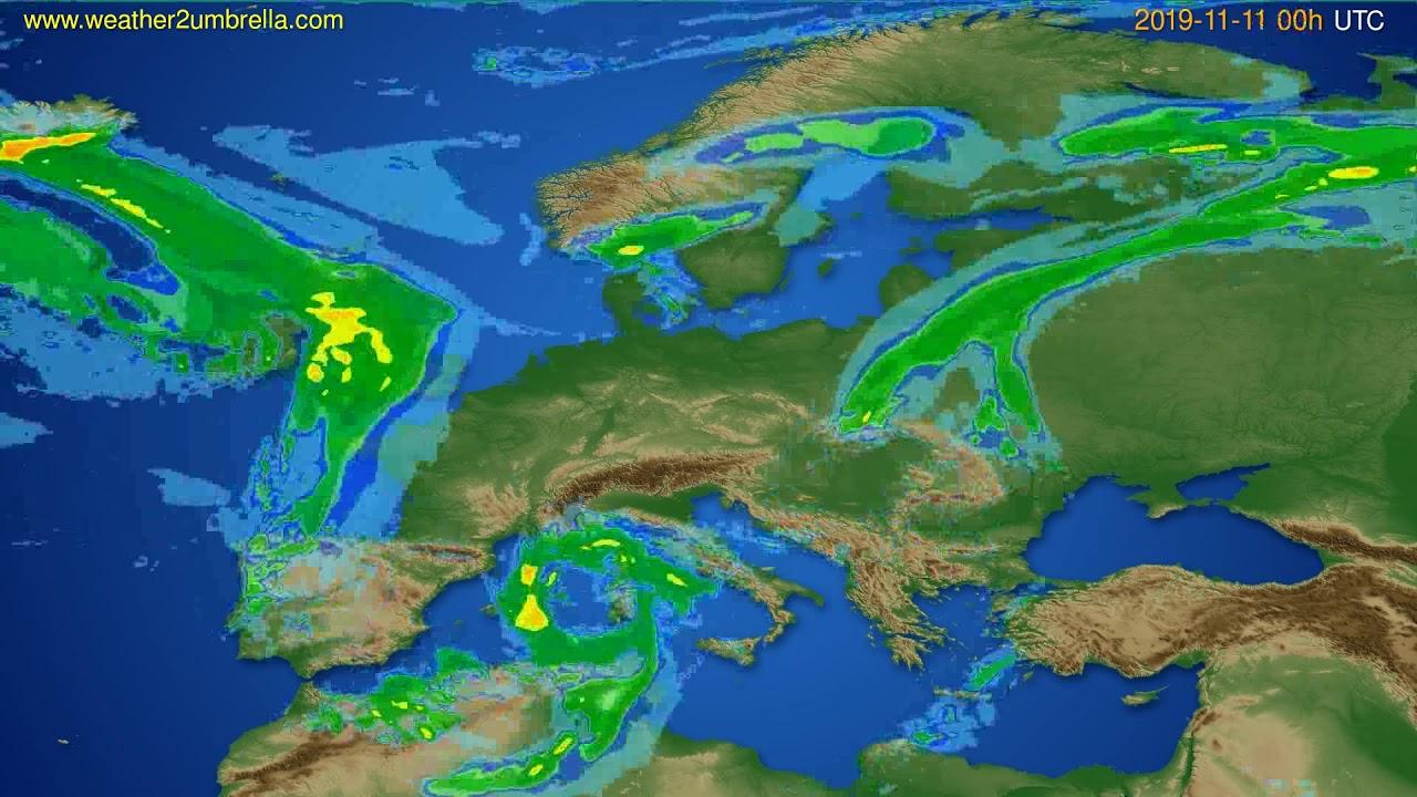 Radar forecast Europe // modelrun: 12h UTC 2019-11-10