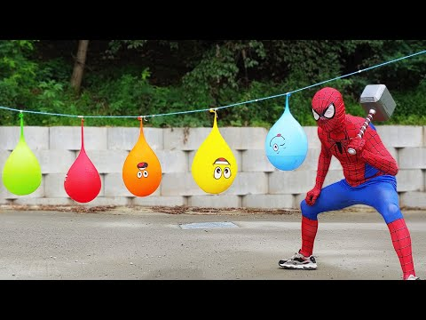 Spider Man Popping Water Balloons!