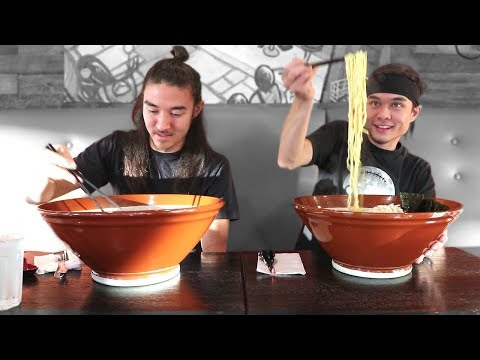 Matt Stonie Attempts to Eat a Giant Bowl of Ramen Noodles in Fewer Than 25