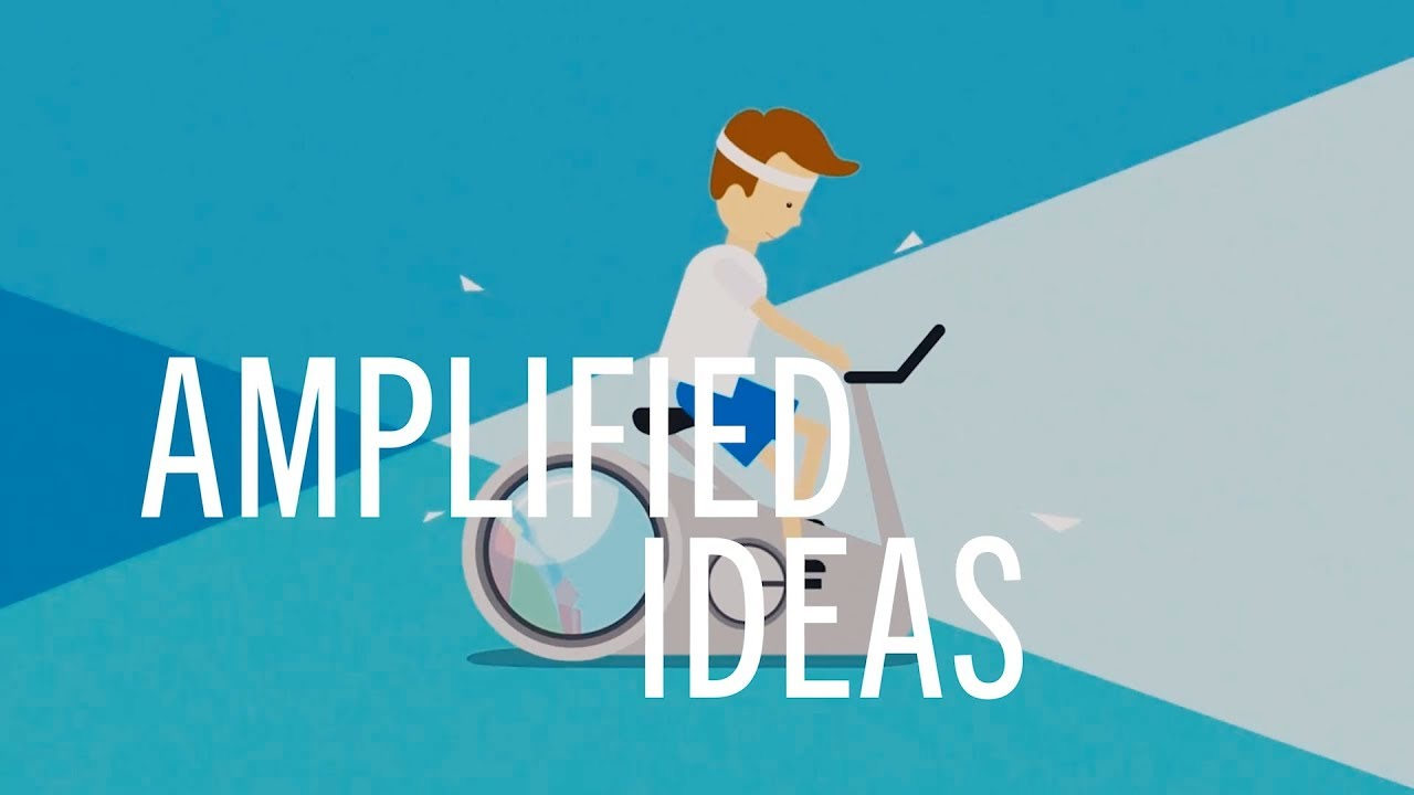 "An illustration of a man on an exercise bike. The background is triangles of shades of blue with the words ""amplified ideas"" across the front."