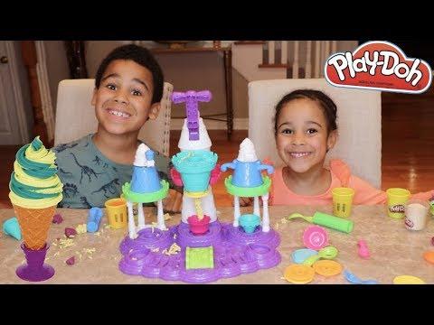 FamousTubeKIDS Make A Play Doh Ice Cream Castle!