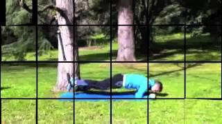 Plancha sobre codos + rodillas al pecho