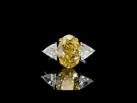 GIA Certified 6.02ct Oval Brilliant Cut Fancy Brownish Yellow Diamond Ring