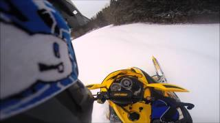 2. Shredding deep powder on 2008 Ski Doo 550f mxz