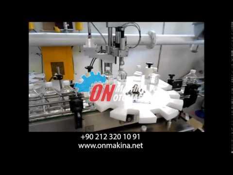 8li Tiner Dolum ve Kapak Kapatma Etiketleme Makinası