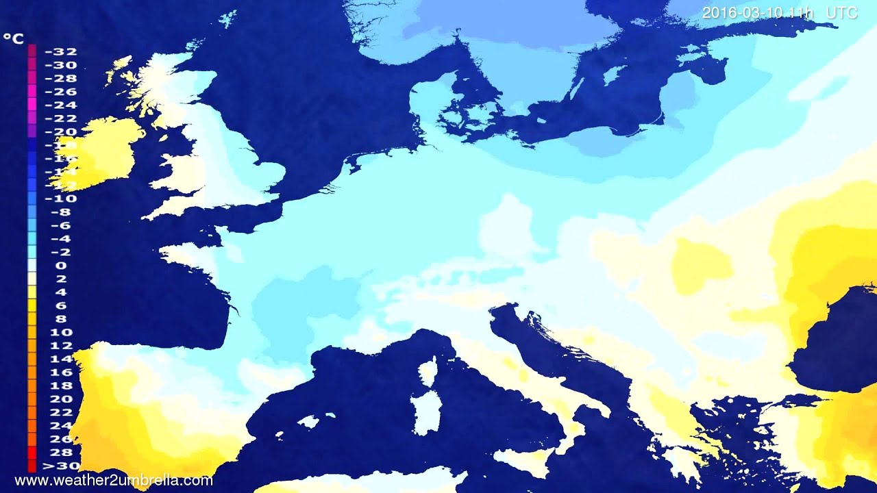 Temperature forecast Europe 2016-03-06