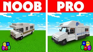 Among Us Vs Minecraft - NOOB VS PRO: RV CARAVAN BUILD CHALLENGE! Minecraft Among us Animation