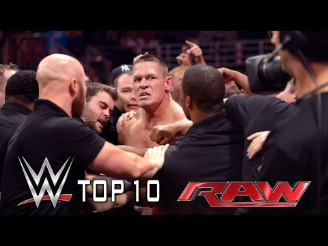 from - WWE Top 10 takes you back to this week's Monday Night Raw to revisit the show's most thrilling, physical and controversial moments. Don't forget to SUBSCRIBE: http://bit.ly/1i64OdT.