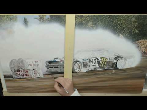 "Time-Lapse Video ""Ken Block Hoonicorn Drift Car"" Acrylic Painting"