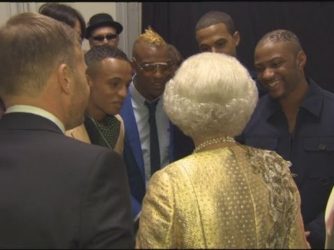 The Queen jokes with JLS about her TV dinners backstage at the Diamond Jubilee concert Video