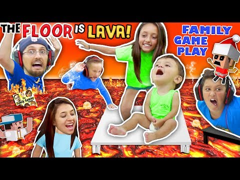 FLOOR IS ACTUALLY LAVA CUZ WE AIN'T LAZY YOUTUBERS! Oh, BURN! FGTEEV Family Game Challenge Pool Day (видео)
