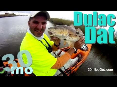 30milesOUT.com- DULAC LOUISIANA KAYAK FISHING top water, soft plastic REDFISH livingston lures