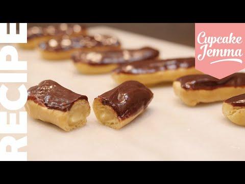 Easy CHOCOLATE ECLAIRS Recipe   Cupcake Jemma