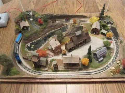z scale model train layout -