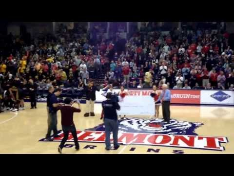 redden - Belmont student Christian Redden nails a half court shot to win a semester of tuition FREE at the Belmont vs. VCU game.