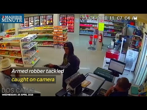 Armed robber tackled caught on camera