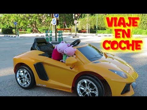 Peppa viaje en coche descapotable LAMBORGHINI AVENTADOR con George  Vídeos de Peppa Pig en español