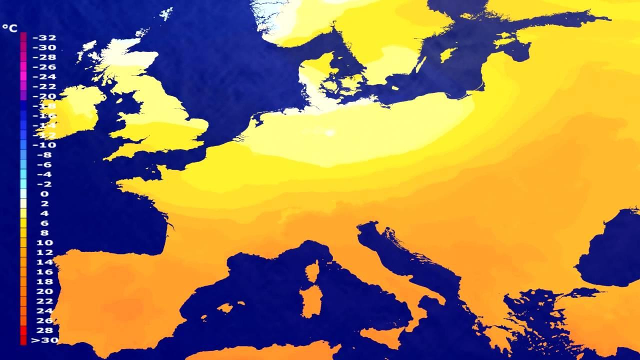 Temperature forecast Europe 2016-07-02