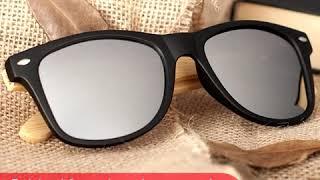 Gafas Unisex de Bambú y plástico - Lente espejo UV-400